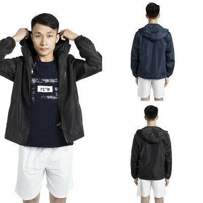 mens windbreaker jacket adjustable hood waterproof coat