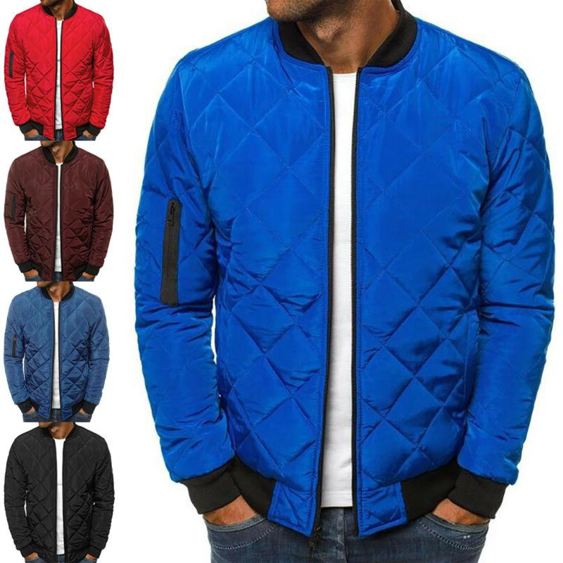 men quilted padded puffer jacket casual zip