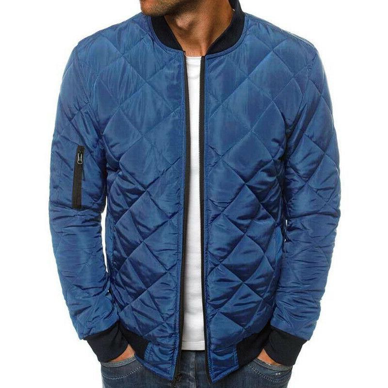 Men Quilted Jacket Zip Up Winter Outwear