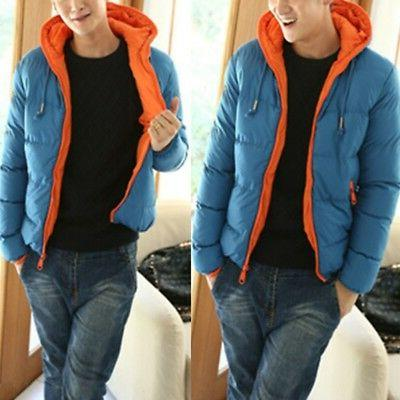 Mens Winter Warm Jacket Duck Down Skiing Thick Hooded Puffer