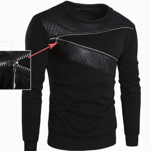 Mens Zip Sweatshirt Coat Jacket Outwear Sweater Tops US