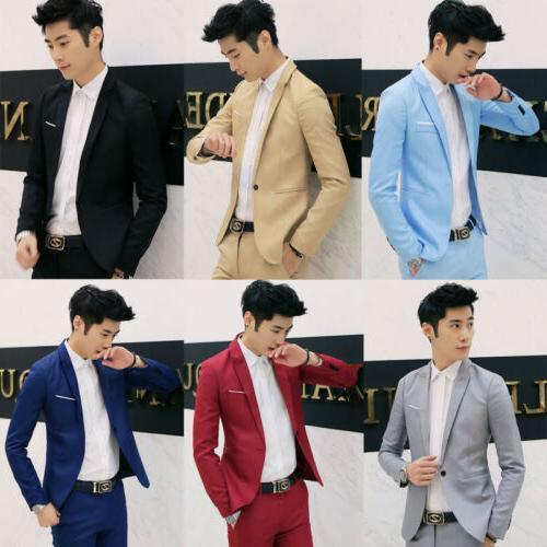Men's Formal Slim Fit One Button Suit Blazer Business Coat J