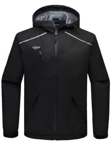 NEW Wantdo Mens Black Hooded Waterproof Windproof Jacket Coa