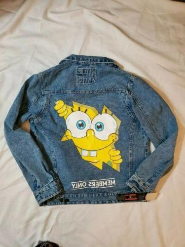 nickelodeon spongebob denim jean jacket mens size