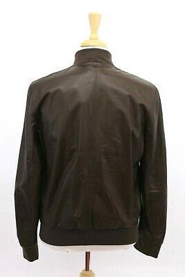 NWT$4995 100% Leather Bomber Jacket W/Logo Zips A196