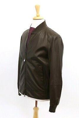 NWT$4995 100% Leather Bomber Jacket W/Logo Zips