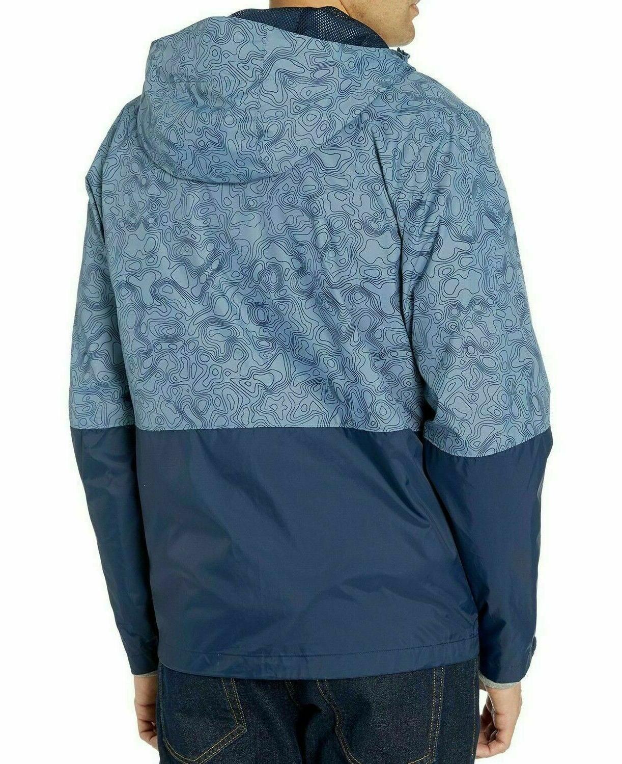 COLUMBIA Men's Rain Jacket Mountain Topo Print/Navy