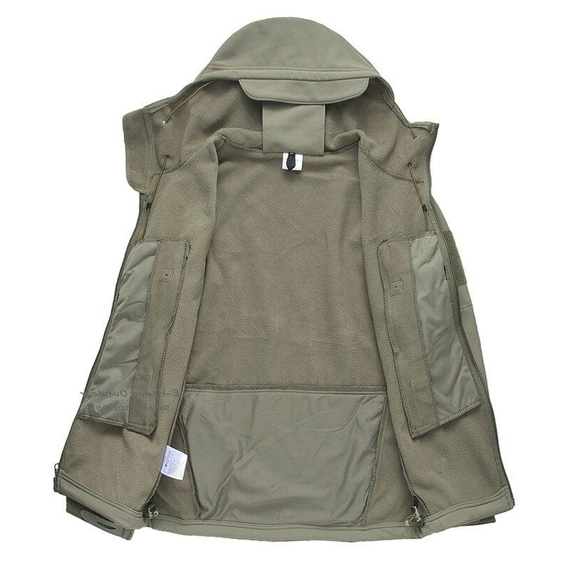 Outdoor Tactical Military Softshell <font><b>Fleece</b></font> <font><b>Jacket</b></font> <font><b>Men's</b></font> Hunting and <font><b>Jacket</b></font> Warm Hooded Army