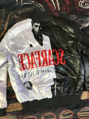Scarface Fanimation Mens Bomber Jacket Button Up Style Size