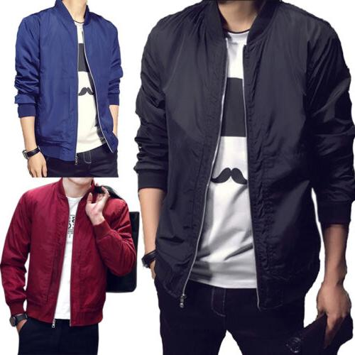 Stylish Mens Padded Bomber Jacket Bike Motorcycle Coat Zip O