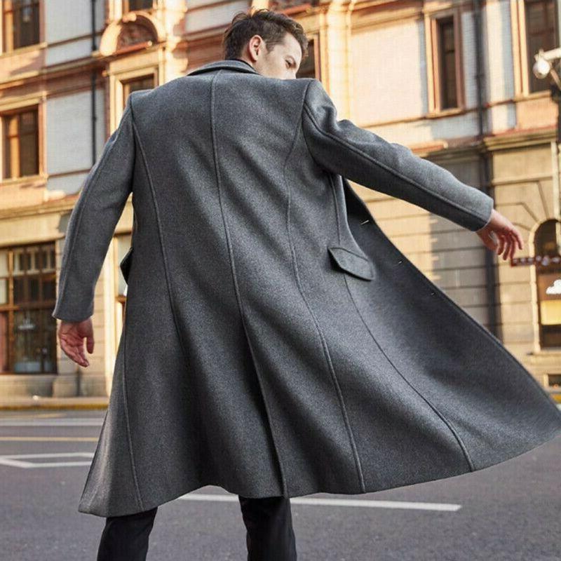 US Warm Overcoat Wool Trench Coat Outwear Jacket