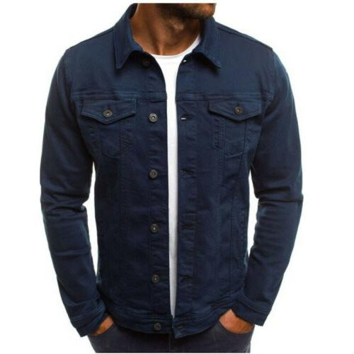 Men's Coat Denim Jean Cargo Cowboy Single Breasted Outerwear