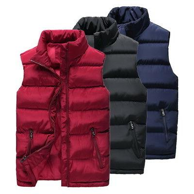 US Mens Zipper-up Quilted Vest Sleeveless Padded Jacket