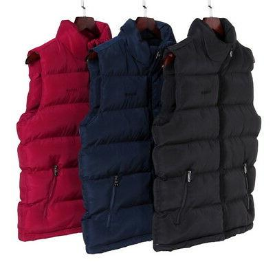 US Zipper-up Quilted Vest Warm Sleeveless Padded Jacket