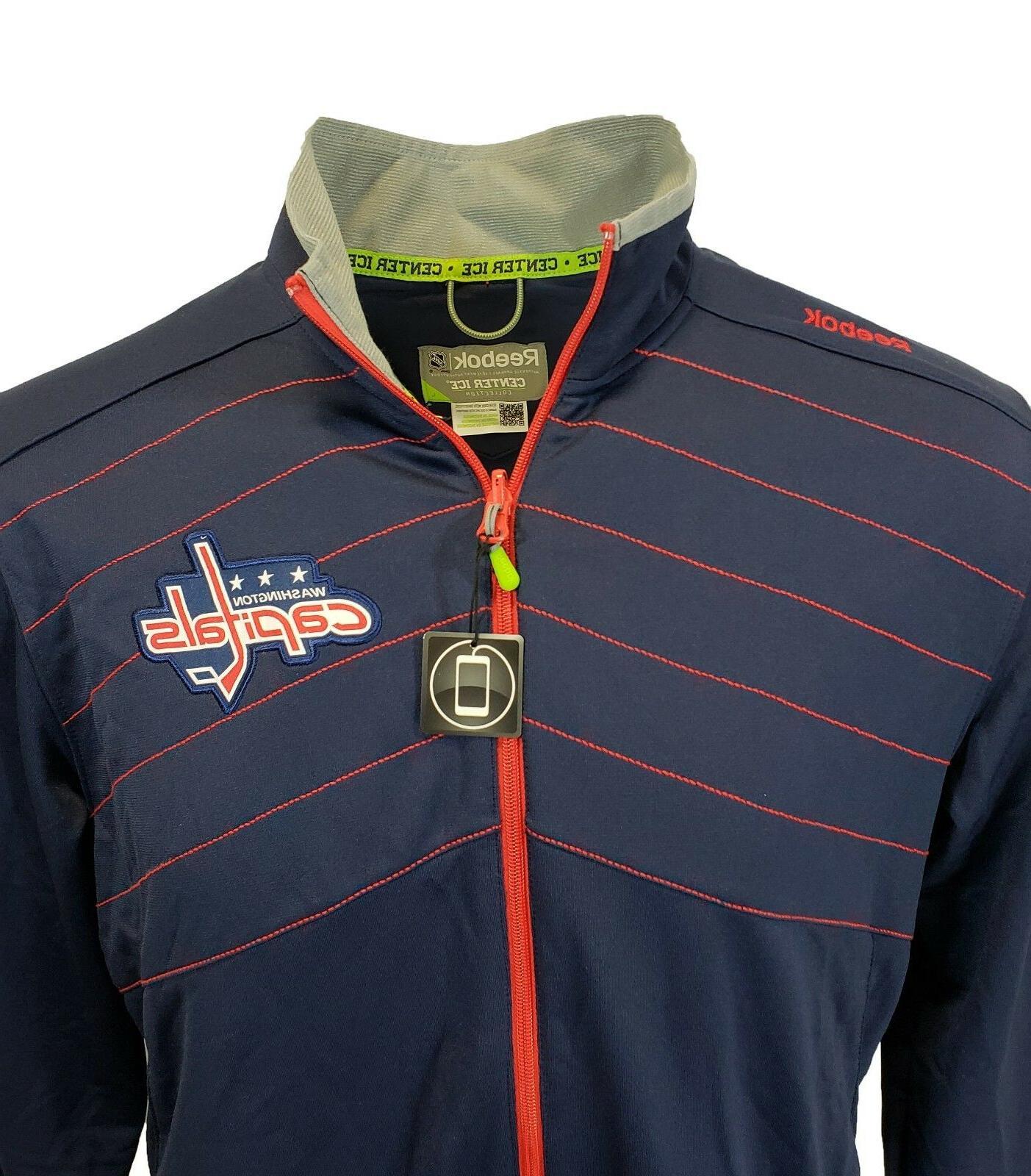 Washington Capitals Reebok Center Play Dry Full Zip Jacket, Mens