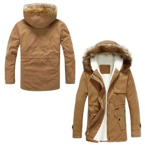 Winter Mens Fur Collar Coat Thicken Jacket Hooded Warm Parka