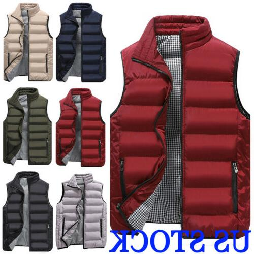 USA Men's Hooded Puffy Puffer Sleeveless Jacket Winter Thick