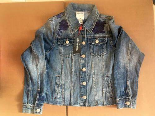 womens size medium floral embroidery denim jacket