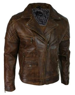 Leather Jacket Mens Boys Biker Distressed Classic Brown Vint