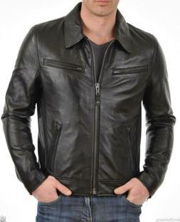 Leather Jacket Mens Motorcycle Men Real Lambskin Biker Coat