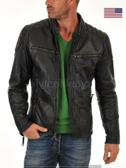 Leather Jacket Real Lambskin Mens Black Men's Slim Fit Motor