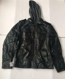Levi's Men's S Faux-Leather Two-Pocket Trucker Hoodie Jacket