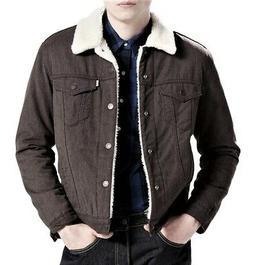 Levi's Mens Classic Regular Fit Sherpa Trucker Jacket Brown