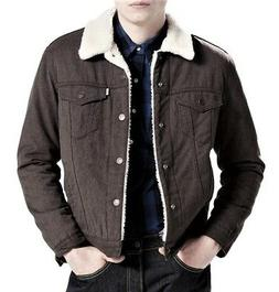 Levi's Mens Classic Regular Fit Sherpa Trucker Jacket Brown