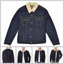 Levis Mens Jacket Button Up Denim Sherpa Jeans Trucker Dark