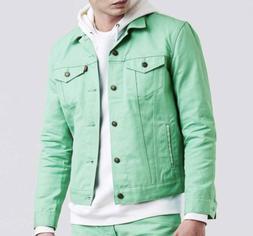 Levis Mens Trucker Raw Unwashed Denim Jacket Mint Green NEW