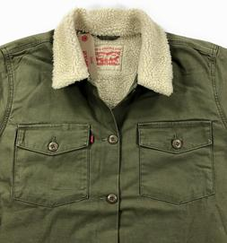 Levis Sherpa Military Shirt Jacket Mens Olive Night Army Gre