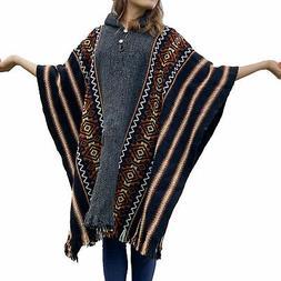 Llama Wool Mens Unisex South American Hooded Poncho Cape Coa
