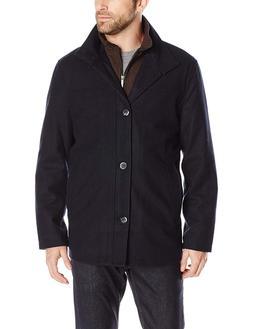 London Fog Men's Wool Blend Car Coat with Bib