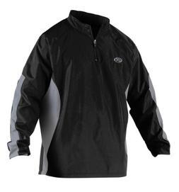 Rawlings Men's Long Sleeve Wind Breaker Jacket, Black, 3X-La