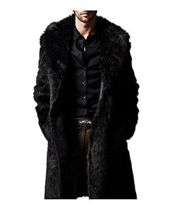 QinYing Mens Luxury Faux Fur Long Winter Outerwear Warm Over