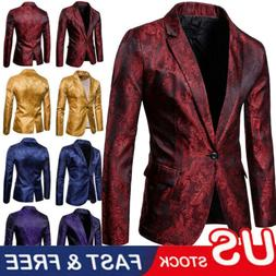 Luxury Men's Jacquard Suit Coat Casual Slim Formal One Butto