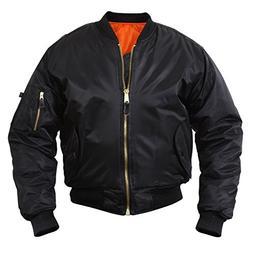 MA-1 Flight Jacket, Black, Pilot Jacket, Large