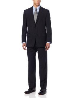 Calvin Klein Men's Malik Suit Pinstripe, Black, 39 Regular