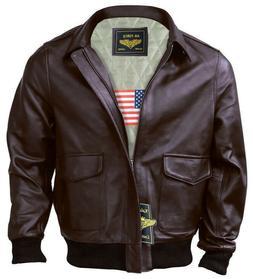 Men A-2 Air Force Flight Bomber Genuine Leather Jacket