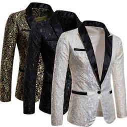 Men Blazer Velvet Casual Jacket Smart Slim Fit Jacket Coat B