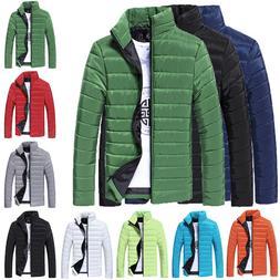 Men Boy Daily Simple Style Warm Stand Collar Slim Winter Zip