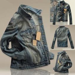 Men Boy Jean Denim Jacket Outerwear Fall Slim Fit Classic Re