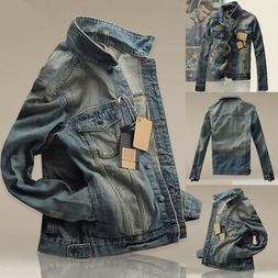 Men Boy Jean Denim Jacket Outerwear Fall Slim Fit Classic Re