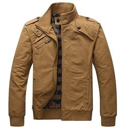 Dwar Men Casual Long Sleeve Full Zip Jacket with Shoulder St