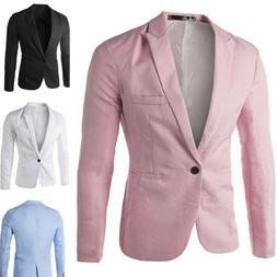 Men Casual Slim Fit One Button Suit Blazer Coat Jacket Tops