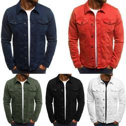 Men Coat Denim Jacket Jean Cargo Cowboy Lapel Single Breaste