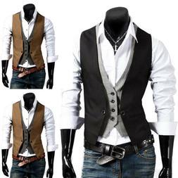 Men Formal Business Slim Fit Dress Vest Tuxedo Waistcoat Sui