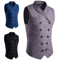 Men Formal Casual Business Suit Vest Jacket Slim Double-Brea