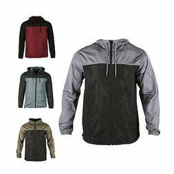 Men Hooded Water Resistant Lightweight Windbreaker Zipper Ou
