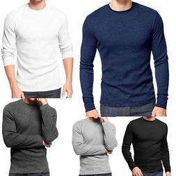 Men's 100% Cotton Mid weight Black White Thermal Crew Top Un
